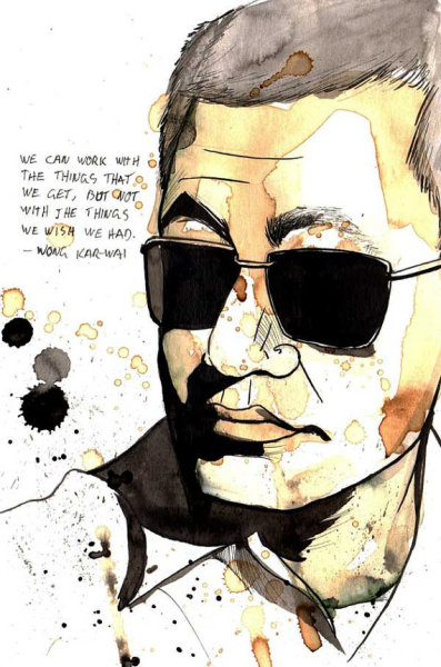 Portrait of director Wong Kar-wai (Made with coffee & ink) by studiotriangular