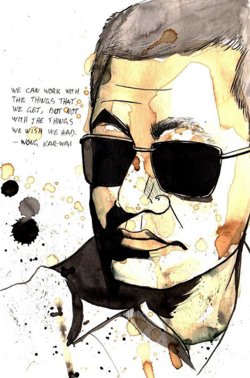 wkwlovers:  Portrait of director Wong Kar-wai (Made with coffee & ink) by studiotriangular