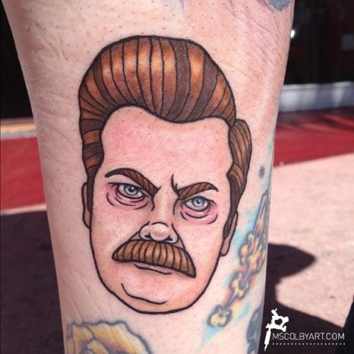 Someone got a tattoo of my Ron Swanson illustration!