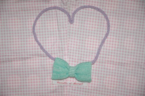 Cute mint bow necklace with lavender knitted chain. Soft all over <3 €6,-