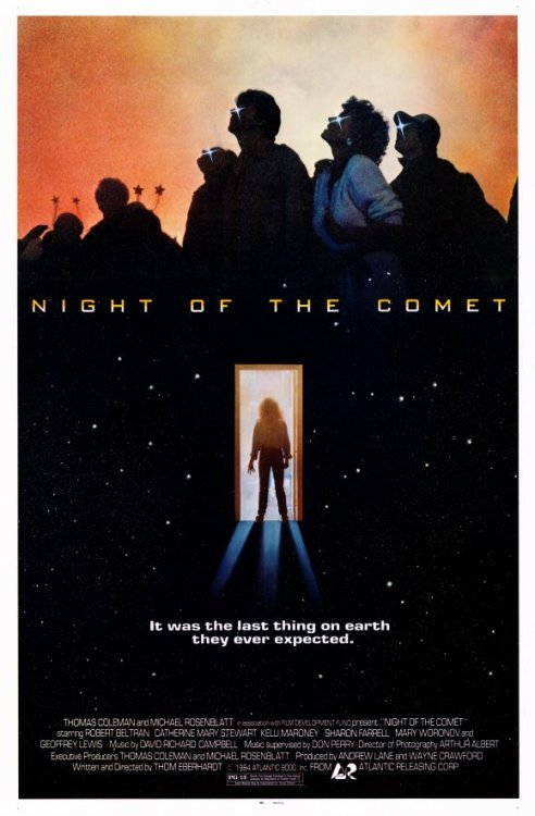 "Night of the Comet (1984)  Two pretty high school girls (one a cheerleader!) don't like their stepmother or her new boyfriend (""Daddy would have gotten us Uzis!""). One morning, they wake up to find that everybody in Los Angeles has been turned to dust by a Comet except them, a guy who looks like Erik Estrada, some zombies and the occupants of a secret underground government installation.  Cast: Mary Woronov, Robert Beltran, Catherine Mary Stewart Follow this blog for the neverending list of all the teen movies ever made!"