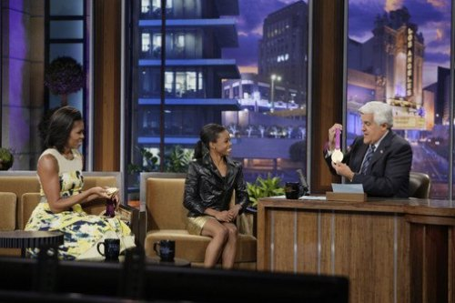 The First Lady visited Jay Leno last night with gold medalist Gabby Douglas (photo via The Tonight Show).