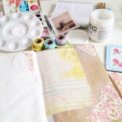Making a spectacular mess! #journalling #journal #craft #supplies #washitape #tape #sassafras #scissorquirk and #vintage #wallpaper (Taken with Instagram)