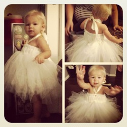 My 17 month old, Olive, modeling an Ivory Tutu Dress I made! Tutorial can be found here on YouTube by ClothesPinsDolls