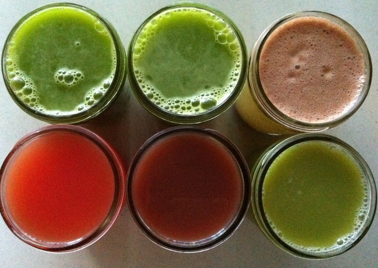 REBOOT JUICE FAST day 17/60:  -2 mason jars of cilantro-pineapple green juice -1 mason jar bok choy-tomato-corn juice -1 mason jar watermelon-orange-ginger root juice -1 mason jar purple pineapple juice -2 day old green lemonade ( I probably won't drink-it's just back up juice )