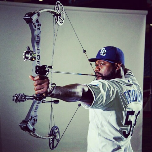 Fernando Rodney received archery lessons here at Tropicana Field. #ShootTheMoon