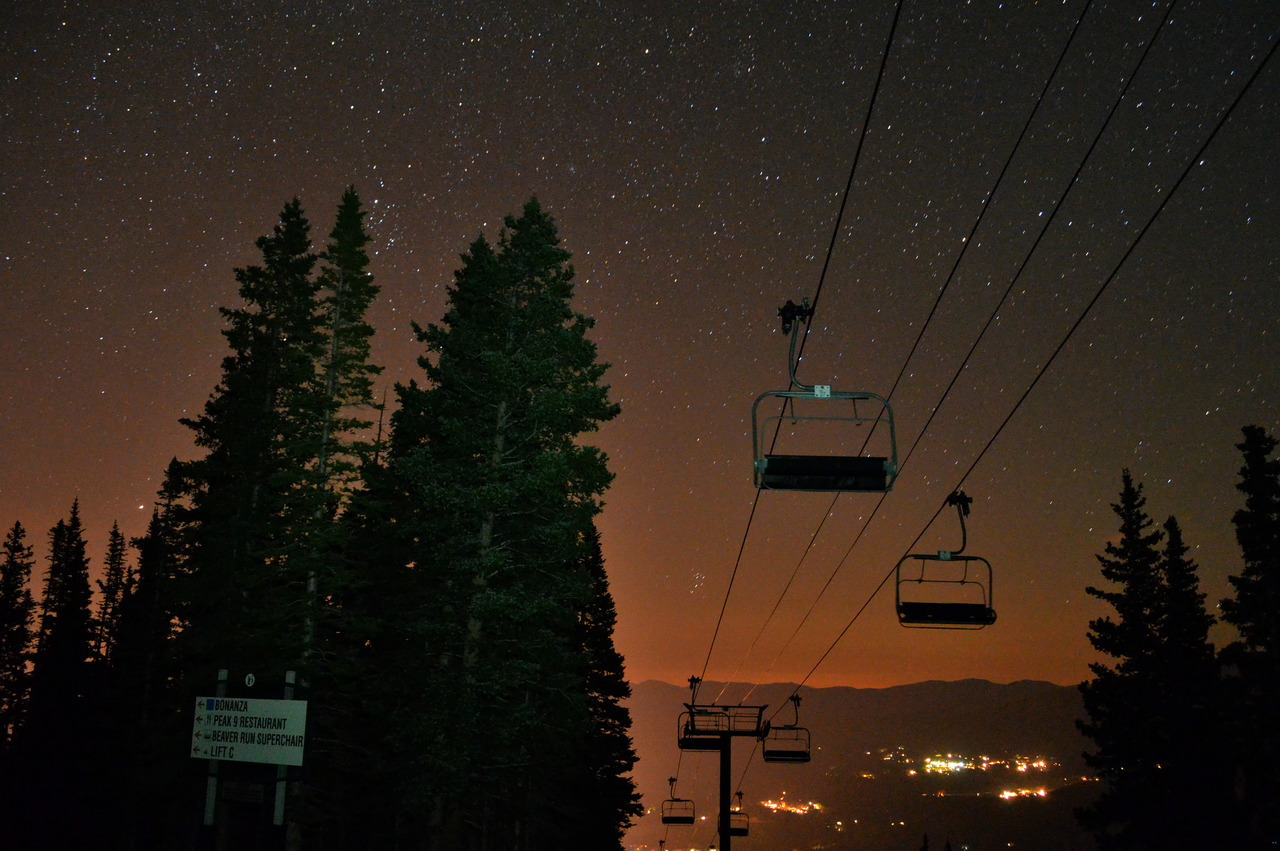 A night photo taken of Breckenridge Colorado