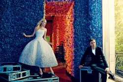 Raf Simons (with Diane Kruger) for Designers in Vogue by Norman Jean Roy  (The September 2012 issue of American Vogue )