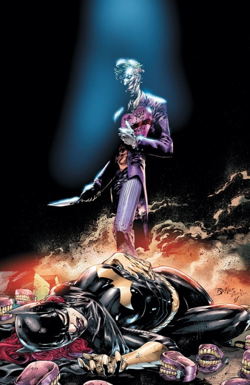 DC Comics has released some new covers that include a complete image of the newly-redesigned Joker on a Batgirl cover. The release was either a mistake or a leak, but either way designer Greg Capullo was not happy. He did say, however, that the image above is quite mild compared to what we will see of the new Joker in Batman #13, due out October 10th. Here's what he had to say on twitter: The fact is, the way Scott [Snyder] and I will give you the Joker may have been too much for some with out this diluted sample hitting the web… So, even if you do see the leak, you ain't seen nothing yet. Trust me. I'm still not going to reveal my sketches. I won't let this incident blow the whole works. Be patient. Terror is heading your way.  Personally, I can't wait to see what they have in store for us. (via DC Comics Reveals New Joker Design on Batgirl Cover | Comics Alliance)