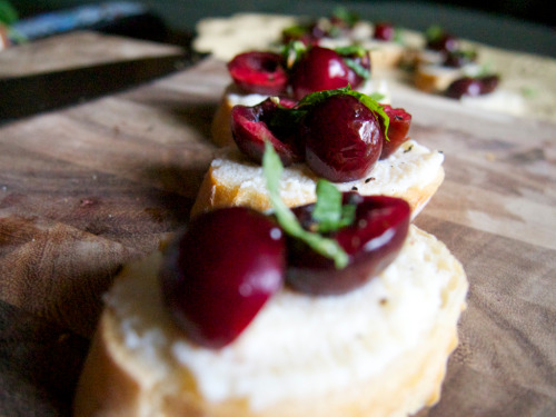 Here's a quick appetizer that is simple to make. You can throw it together with cherries, peaches or fresh tomatoes. Recipe here.