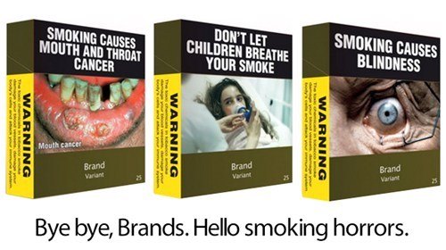 Horrifying Cigarette Packaging of the Day: The future has arrived — the High Court of Australia has upheld a new law that requires the removal of logos and branding on cigarettes, which means that come December 1, all smokes in Australia will be sold in one of these charming packages. Graphic images depicting the horrors of smoking will replace the iconic branding, which will be reduced to fine print that includes only the name, variant, and number of cigarettes. Watch for the trend to head overseas in the years to come — Big Tobacco's protests are increasingly futile. [gizmodo]