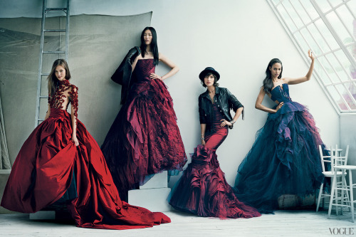 The Vogue 120; Karlie Kloss in Marchesa, Liu Wen, Arizona Muse & Joan Smalls all wearing Vera Wang for Vogue US, September 2012