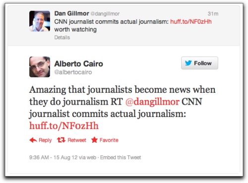 "Committing Acts of Journalism Via the Huffington Post:  CNN's Soledad O'Brien did something which is extremely rare in television news these days: she actually did her job… …The action took place Tuesday afternoon, as O'Brien was interviewing former New Hampshire governor and George W. Bush Chief of Staff John Sununu. With the actual documents in hand, O'Brien pointed out the striking similarities between the Medicare plans of Mitt Romney and his controversial vice presidential running mate Paul Ryan, who seeks to change the government guaranteed health care program into a voucher system. ""But it's very different,"" Sununu insisted. ""For example, when Obama gutted Medicare by taking $717 billion out of it, the Romney plan does not do that. The Ryan plan mimicked part of the Obama package there, the Romney plan does not. That's a big difference."" O'Brien essentially accused him of lying: ""I understand that this is a Republican talking point because I've heard it repeated over and over again. These numbers have been debunked, as you know, by the Congressional Budget Office. … I can tell you what it says. It (Obama's Medicare plan) cuts a reduction in the expected rate of growth, which you know, not cutting budgets to the elderly. Benefits will be improved."" At this point Sununu, clearly agitated, became nasty and indignant, angered by O'Brien's insistence on fact over fiction: ""Soledad, stop this!"" Sununu replied, raising his voice. ""All you're doing is mimicking the stuff that comes out of the White House and gets repeated on the Democratic blog boards out there."" O'Brien continued reading from the Romney and Obama plans verbatim, and cited Factcheck.org, the non-partisan Congressional Budget Office and CNN's own independent analysis in refuting Sununu's deceptive rhetoric.  Read through for the rest of the exchange. The video's available as well."