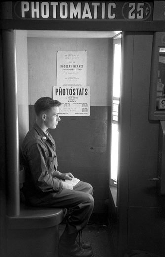 Harold Feinstein, Draftee in Photo Booth, Camp Kilmer, 1952 These photographs will be in the exhibition Harold Feinstein | A Retrospective, opening Sept 14th at Panopticon Gallery.