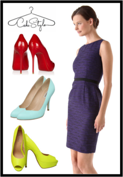 "Ask A CakeStylist | Matchy Matchy  ""Can you wear shoes that match the color of your dress? Not black-on-black, but something like a cobalt blue dress with cobalt blue shoes."" —Sara, Chicago  We asked one of our CakeStylists, Kait, to tackle this question. Here's what she had to say:  ""We actually love mixing in different hues with your shoes because it's refreshing! We do not like matching your shoes to your dress - it looks weird. Our rule would be to wear the darker hue on top and the lighter hue on the bottom, and the more extreme the color difference, the better! Don't try to wear colors that are really close in hue - it will look like they're trying to match.""  Based on Kait's solid advice, we came up with the example above: a deep purple Peter Som tweed sheath dress with three different colors of heels you could wear with it. We think a cherry red, a light mint green, or a bright chartreuse pair of shoes would work well with this subdued shade of purple.  *** Got a question that only a CakeStylist could answer? Ask us at questions@cakestyle.com!"