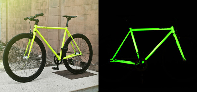 springwise:  Glow-in-the-dark bike offers greater night-time safety We've already seen efforts to make cycling in the dark a safer activity with Revolights LED system for illuminating the wheels of bikes. Aiming to make riders even more conspicuous on the road, the Kilo Glow model from Pure Fix Cycles features a glow-in-the-dark frame. READ MORE…