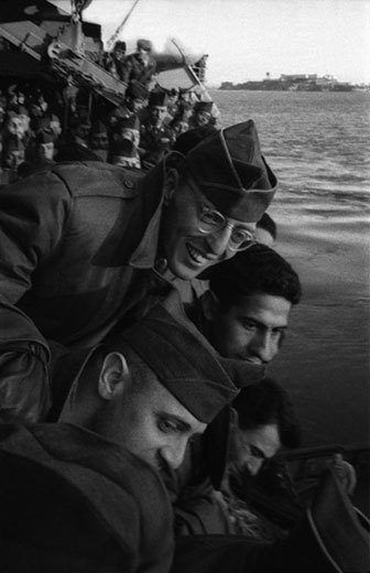 "Harold Feinstein, GI's Aboard Ship, from the series ""Army Draftee"". Harold Feinstein 