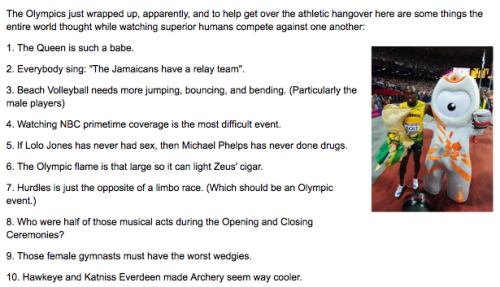 20 Things Thought During the Olympics [Click to continue reading]