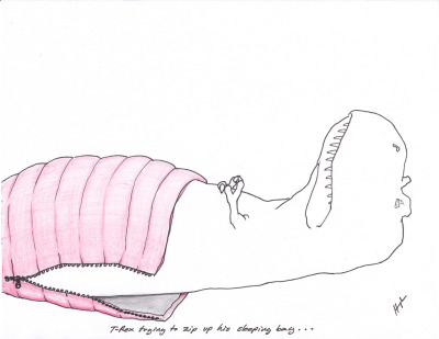 trextrying:  T-Rex Trying to Zip Up his Sleeping Bag… #TRexTrying
