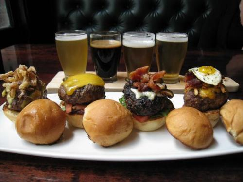 The Driskill's 1886 Café & Bakery is now offering a beer and slider pairing ($10 for four sliders and four 3-ounce pours) that features four burgers topped with everything from queso to brisket and are served with four local beers. This and more in today's Food Matters. Photo: Addie Broyles/American-Statesman
