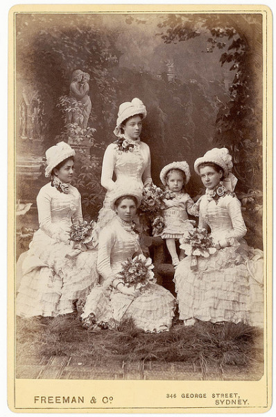 Knox family bridesmaids, Sydney, March 1882 / photographer Freeman & Co., Sydney by State Library of New South Wales collection on Flickr.