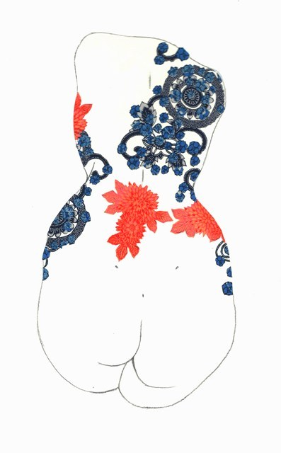 Lotte Hobbs, Dahlia-Tattooed Nude, Right.  Poster paint, silk washi paper-cutting, & pencil on paper.
