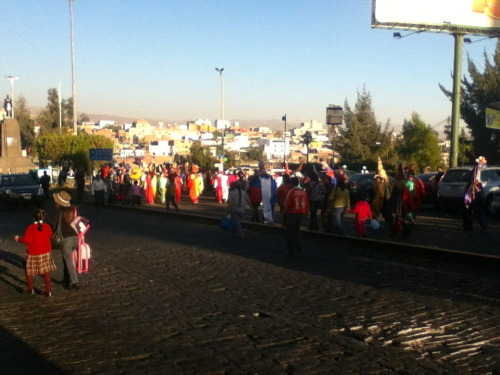 "It's crazy here in Arequipa. It's Arequipa Day and the city is shut down because everyone is watching ""El Corso"" which is a huge parade throughout the city. Every city / town in Peru and bordering countries comes to Arequipa and performs their traditional dance in the parade, accompanied of course with traditional costumes. It's pretty wild. More to follow later"