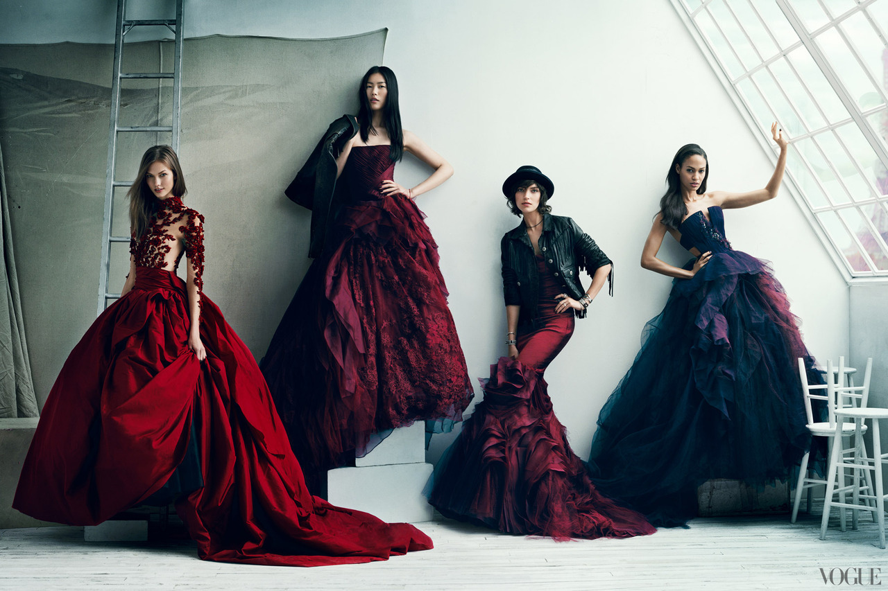 Karlie Kloss, Liu Wen, Arizona Muse & Joan Smalls: The Vogue 120 - Vogue by Norman Jean Roy, September 2012 Karlie is in Marchesa, Liu, Arizon & Joan each wear Vera Wang bride gowns. (via vogue)