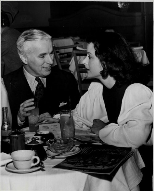Charlie with Hedy LaMarr  (Charlie had such a type he loved to look at, didn't he?)