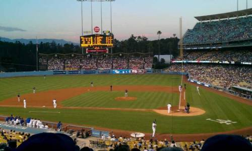 BigEd had this great, five star, view of the Los Angeles Dodgers playing ball. From the seat, which is just past home plate along the 3rd base line, you can see the whole field. (via Dodger Stadium section 119 LG row J seat 1 - Los Angeles Dodgers vs Colorado Rockies shared by BigEd)