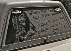 collegehumor:  Bane on Dirty Car But then I'd have to wash away this masterpiece.