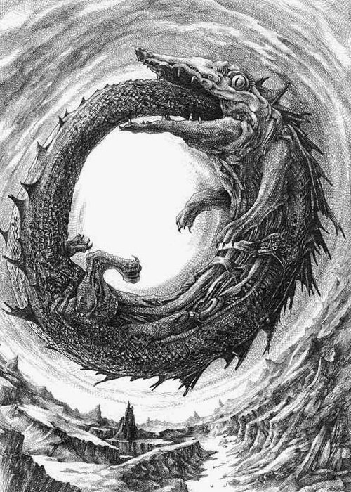 The Ouroboros is an ancient symbol depicting a serpent or dragon eating its own tail. The Ouroboros represents the perpetual cyclic renewal of life and infinity, the concept of eternity and the eternal return, and represents the cycle of life, death and rebirth, leading to immortality, as in the Phoenix