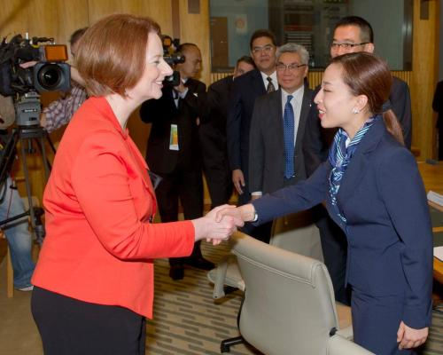 The conversation went like this: HRH Princess Bajrakitiyabha Mahidol of Thailand: I heard about your shoe. PM Julia Gillard: Oh yeah, that. HRH Princess Bajrakitiyabha Mahidol of Thailand: I tried to order a pair on Zappos. PM Julia Gillard: I think you might have better luck on eBay.