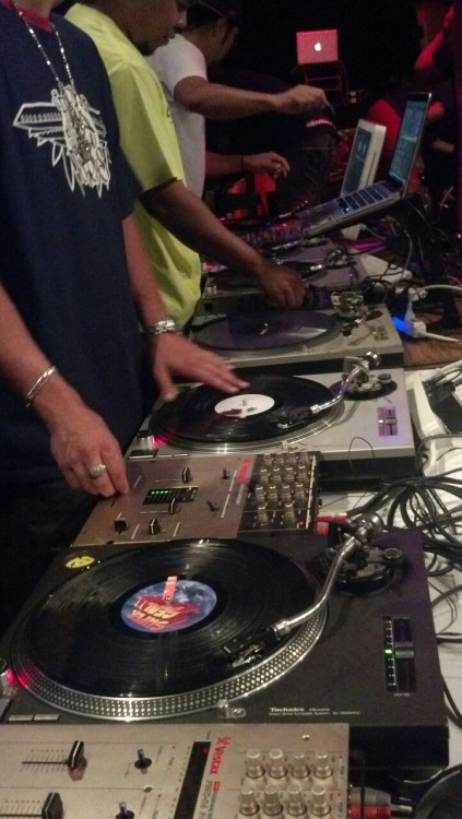 "Turntables set up for ""The Listening"". It was a great show. Thank you to everyone that came out!"
