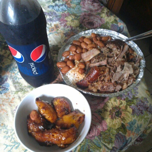 #rice #beans #platanos #pork #Pepsi #Spanishfood (Taken with Instagram)