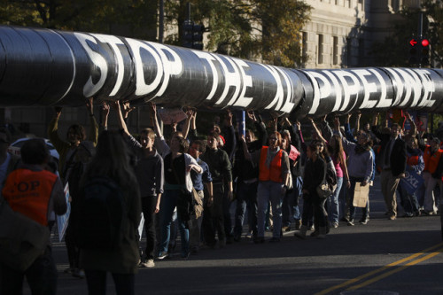"thepeoplesrecord:  Texas activists to physically block Keystone XL pipeline constructionAugust 15, 2012 […] Tar Sands Blockade is being informed by a variety of voices — from self-identified Tea Party members, flying Gadsden flags at the front of their long driveways, to Occupiers who slept at encampments across the country. Several organizers with Tar Sands Blockade also participated in and organized for Tar Sands Action, including veteran climate justice activists from around the country. This diverse coalition has agreed on one simple call to action: The Keystone XL should not be built in Texas, and nonviolent direct action is required to stop it. Other means of addressing the grievances of landowners and meeting the challenge of climate change have thus far failed. As Bill McKibben's recent article ""Global Warming's Terrible New Math"" made clear, the world has years, not decades, to confront the fossil fuel industry head on. Nonviolent direct action offers the best chance of victory, not just for the Tar Sands Blockade but for other fossil fuel extraction movements, such as those opposing fracking, mountaintop removal and coal exports — all of which have been active in what's being called a Climate Summer of Solidarity. That solidarity will take on greater meaning in a matter of days when construction on the pipeline is expected to begin and landowners will be bringing ice to the encampments to help alleviate the extreme Texas heat, as well as thanking everyone for defending the home they've built over decades. Activists will respond by holding the blockade for as long as possible, through the summer and likely into the fall. This could be an important moment for the entire climate movement, setting the stage for future actions and alliances — not to mention giving new meaning to the words ""Don't mess with Texas."" Source Texas activists stepping up!"