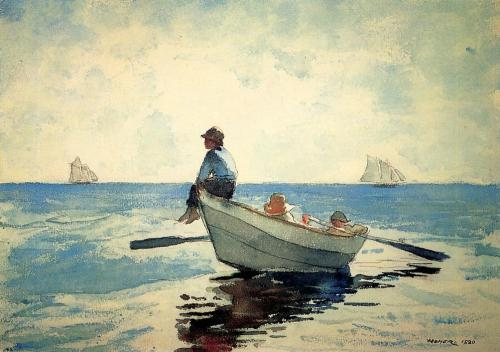 ovadiaandsons:  Winslow Homer, Boys in a Dory, 1880  My walls need help