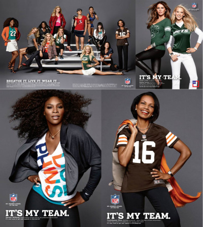 "It's my team, NFL women fashion gear Ad Campaign The NFL is marketing some new fashion-forward gear for women under the slogan, ""It's My Team,"" and one of the high-powered ladies modeling for it is former Secretary of State Condoleeza Rice. Also featured are Serena Williams, Melania Trump and Peta Murgatroyd."