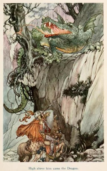 Jolly Calle & other Swedish fairy tales (1912)Illustrations by Charles James Folkard High above him came the Dragon.