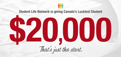 luckieststudent:  Student Life Network is giving away the best prize in Canadian student history, it starts with $20,000 and 5 Dell Ultrabooks. If your friends win, you win too. Sign up today at http://CanadasLuckiestStudent.com