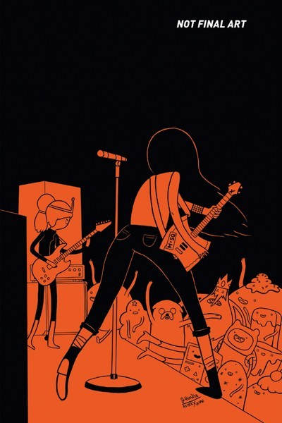 fantagraphics:  Homage to Jaime Hernandez's iconic Love and Rockets #24 cover by James Hindle for issue 5 of Adventure Time: Marceline and the Scream Queens from Boom! Studios (via ComicsAlliance).