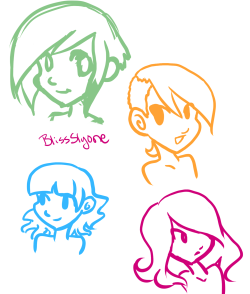 Last night I decided to draw different hairstyles with pretty colors. I was trying to find a color to sketch in but I kept finding these pretty shades and aaahh needed to use them. since I like teal and turquoise I've started slooowly liking orange ugh I don't want to like orange it's so obnoxious but it can be pretty especially with my other favorite colors UGH this is what happened with purple