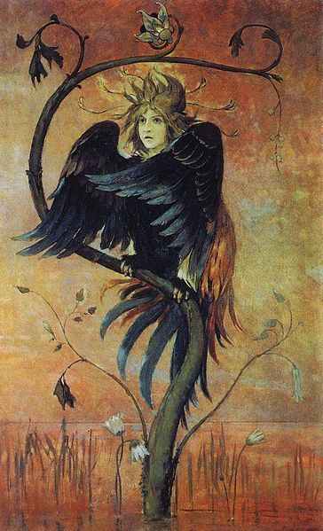 collective-history:  Gamayun is a prophetic bird of Russian folklore. It is a symbol of wisdom and knowledge and lives on an island in the east, close to paradise. Like the Sirin and the Alkonost, the Gamayun is normally depicted as a large bird with a woman's head. Viktor Vasnetsov