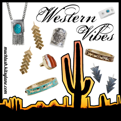 My Western Vibes flash sale just started! Check it out here: Much Lush Western Vibes by achristopher featuring the Kitsy Lane pieces below. Sage Necklace / Delila Turquoise Bangle / Christina Ring / Angie Earrings / Marla Stone Ring / Scout Earrings / Audra Leather Ring / Delila Chocolate Bangle