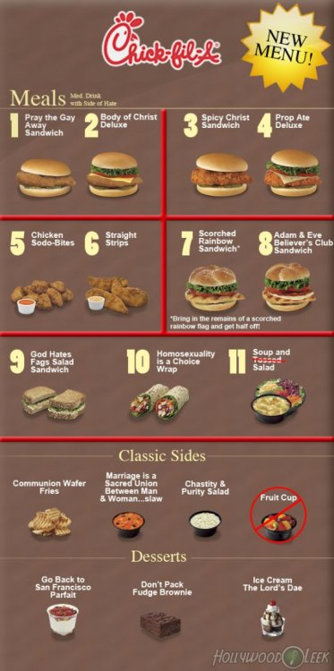 Chick-fil-A's New Anti-Gay Menu Available to only the most straightforward customers