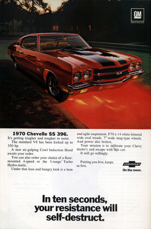 A 1970 Chevrolet Chevelle SS 396 advertisement.