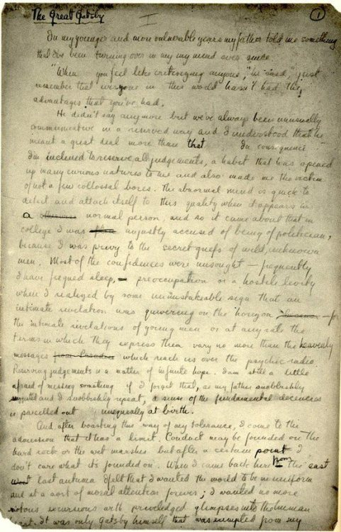 espressobrooklyn:  Great Gatsby manuscript: Page 1