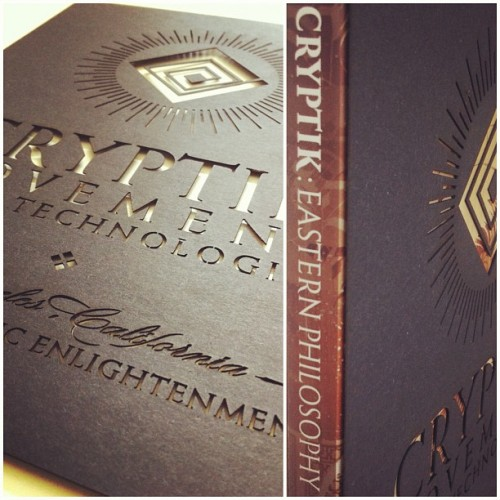 "stencil test cuts for the clamshell boxed edition of Cryptik's ""Eastern Philosophy"" by Zero+ Publishing & Pedersen Projects. #laser (Taken with Instagram at PizzaLaser)"