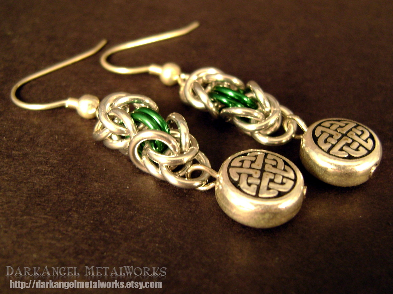 Celtic Green Chainmail dangle earrings.
