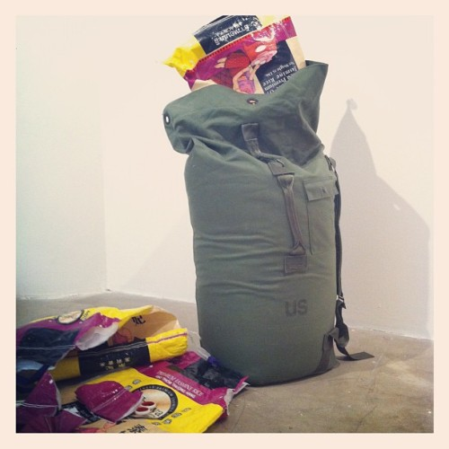 "Installing ""Seabag"" - 125 lbs of rice in my old US Navy-issued duffel bag (Taken with Instagram at Sullivan Galleries)"
